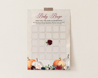 Baby Bingo Game, Instant Download, Printable Fall Pumpkin Baby Shower Game, Editable Template, Instant Download, Templett  #072A-203BASG
