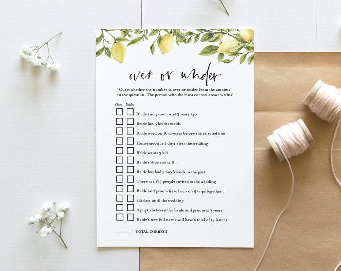 Over or Under Bridal Shower Game, Printable Summer Bridal Shower, Citrus Lemon, Editable Template, Instant Download, Templett #089-204BG