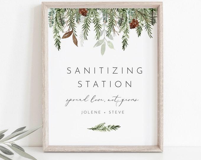 Sanitizing Station, Printable Winter Wedding Sign, Hand Sanitizer Sign, Social Distance Bridal Shower, Instant Download, Templett #0017-01S