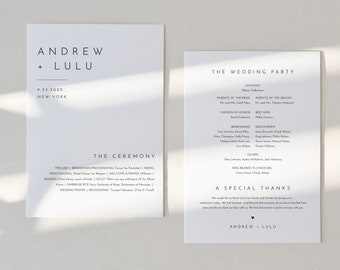 Minimalist Wedding Program, Fan or Flat Program, Modern & Simple Order of Service, Editable Template, Instant Download, Templett #094-427WP