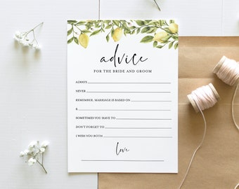 Bridal Shower Advice Card Template, Wedding Advice for the Bride and Groom, Citrus Lemon, Editable, Instant Download, Templett #089-237BG
