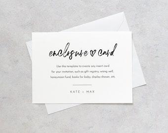 Modern Script Enclosure Card, Minimalist Wedding Invitation Insert, Baby Shower Insert, Editable Details & Info, Instant Download #090-161EC