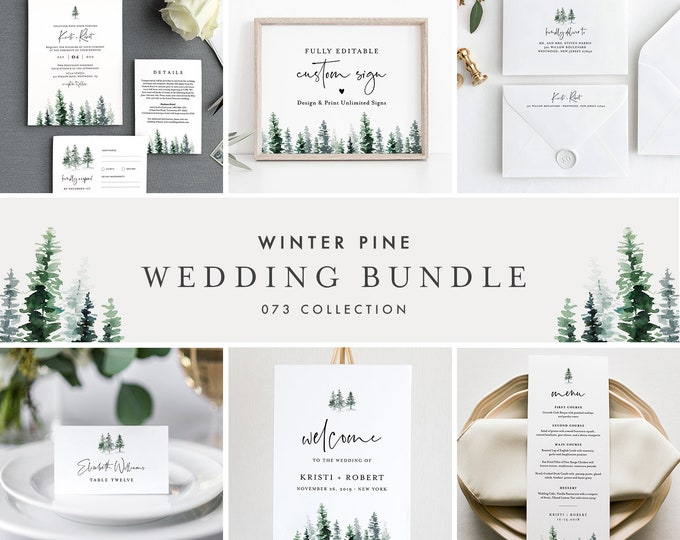 Pine Wedding Bundle, Rustic Winter Wedding Invitation Suite, Editable Templates, Instant Download, Templett #073-BUNDLE