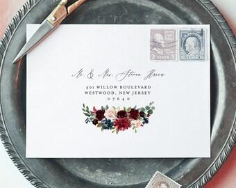 Boho Floral Envelope Template, Merlot Floral Wedding Envelope, Editable Address Printable, Instant Download, Templett, A1 & A7 #062-120EN