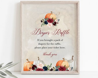 Diaper Raffle Printable, Fall Pumpkin Baby Shower Diaper Raffle Insert and Sign, DIY Editable Template, INSTANT DOWNLOAD #072A-211BASG