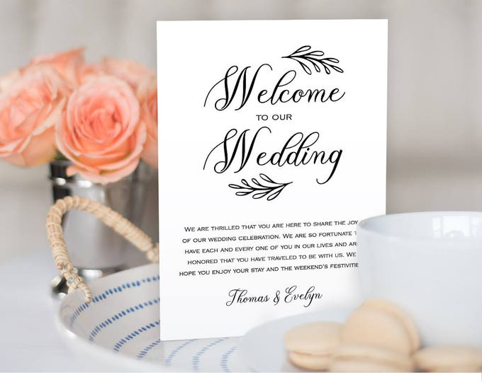 Wedding Itinerary, Agenda, Welcome Bag Template, Printable Welcome Letter, Instant Download, Editable Template, Digital File #027-106WB