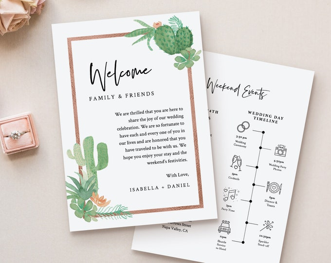 Cactus Welcome Letter & Timeline Template, Order of Events, Wedding Welcome Bag Note and Itinerary, INSTANT DOWNLOAD, Editable #086-131WB