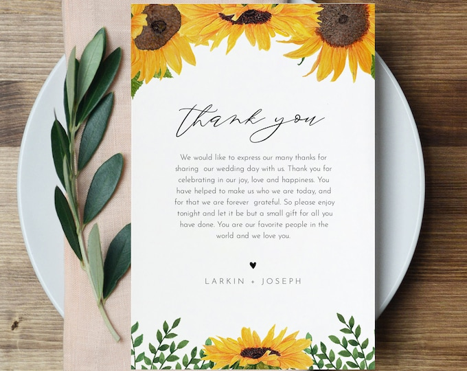 Sunflower Thank You Letter, Napkin Note, Printable In Lieu of Favors Card, Editable Template, Instant Download, Templett 4x6 #0010-157TYN