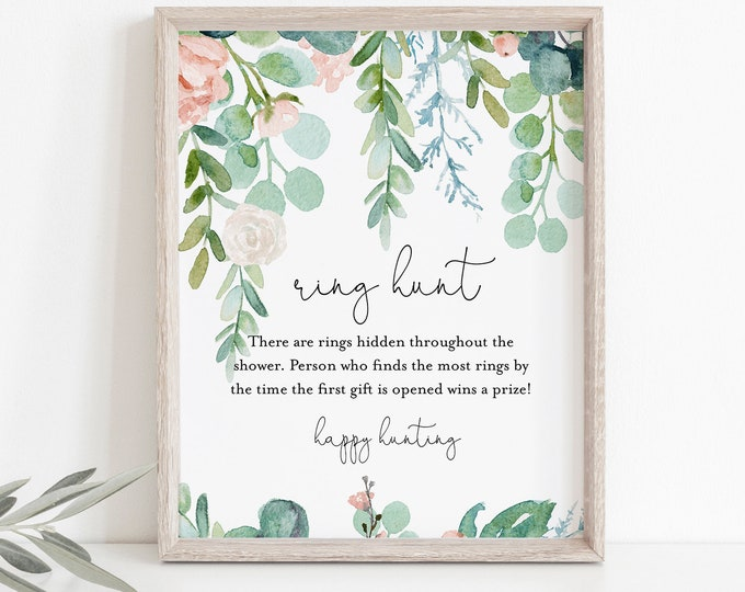 Ring Hunt Bridal Shower Game, Lush Garden Ring Game Template, Bridal Shower Printable, Editable, Instant Download, Templett #068A-297BG