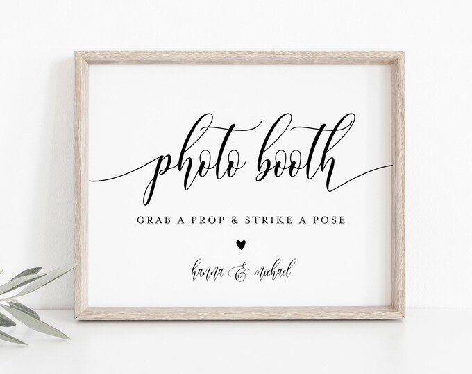 Photo Booth Sign, Printable Wedding Photo Booth Props, Photobooth, Modern Calligraphy, nstant Download, Templett, 8x10 #008-17S