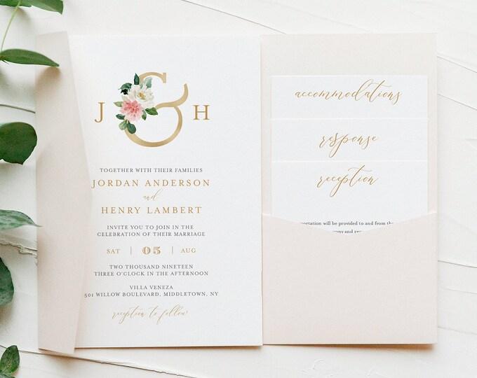 Pocket Fold Wedding Invitation Set, Boho Floral Monogram Invite & Enclosure Cards, Instant Download, Editable Template, Templett #043CPF