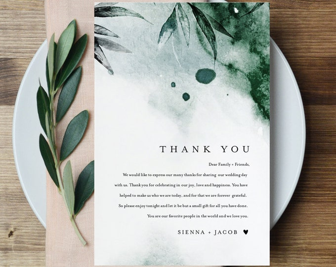 Mystic Waters Thank You Letter, Emerald Watercolor, Napkin Note, Menu Thank You, Editable Template, Instant Download, Templett #0002-142TYN