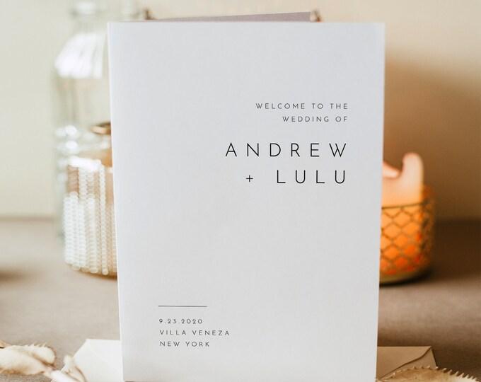 Minimalist Wedding Program Template, Modern Order of Service, Catholic Ceremony, INSTANT DOWNLOAD, 100% Editable, Templett, DIY #094-140WP