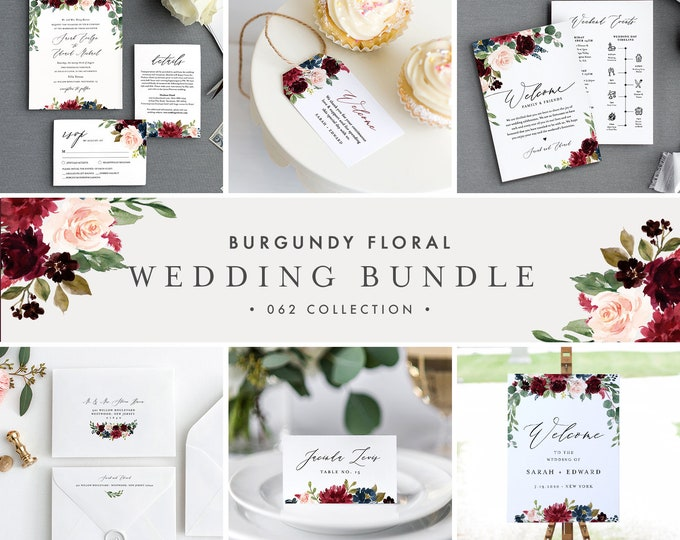 Burgundy Wedding Bundle, Boho Floral & Greenery Invitation Suite, Editable Templates, DIY, Instant Download, Templett #062-BUNDLE