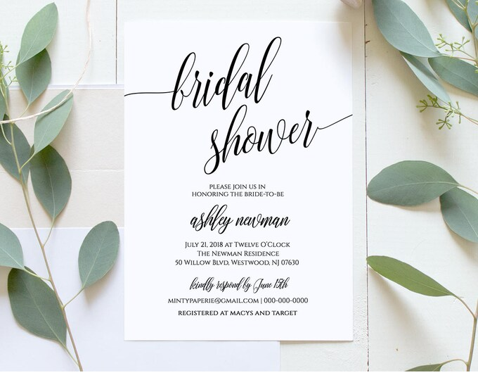 Bridal Shower Invitation Printable, DIY Wedding Shower Invite Template, Rustic Wedding, Instant Download, Fully Editable Template #020-112BS