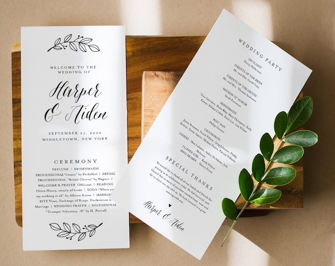 Wedding Program Template, Rustic Order of Service, Modern Calligraphy, Instant Download, Editable Text, Printable, Templett #039-239WP