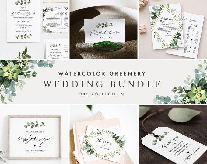 Greenery Wedding Bundle, Large Wedding Essential Templates, 100% Editable Text, Watercolor Greenery, Instant Download, Templett 082-BUNDLE