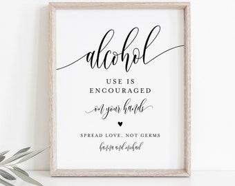 Sanitizing Station, Printable Wedding Sign, Hand Sanitizer Sign, Social Distance Bridal Shower, Alcohol, Instant Download, Templett #008-28S