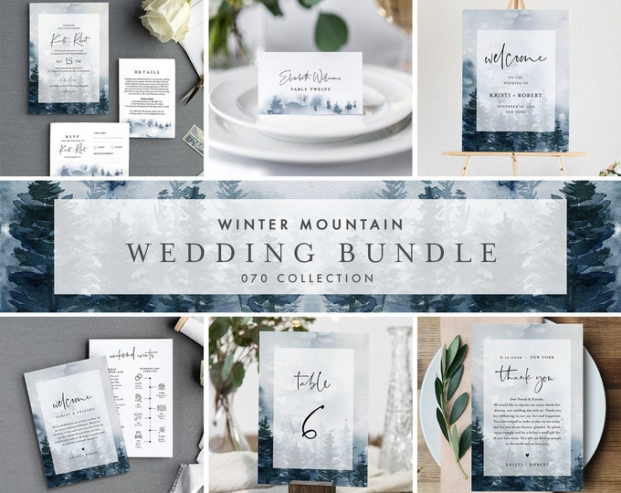 Winter Mountain Pine Wedding Bundle, Wedding Invitation Suite + Day Of Templates, Editable Text, Instant Download, Templett #070-BUNDLE