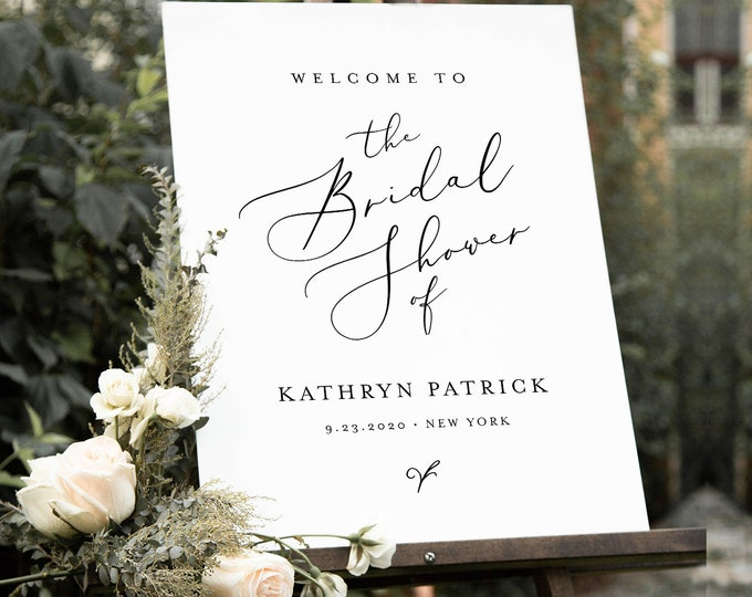 Minimalist Welcome Sign Template, Printable Modern Bridal Shower or Wedding Sign, Instant Download, 100% Editable, Templett #045-191LS