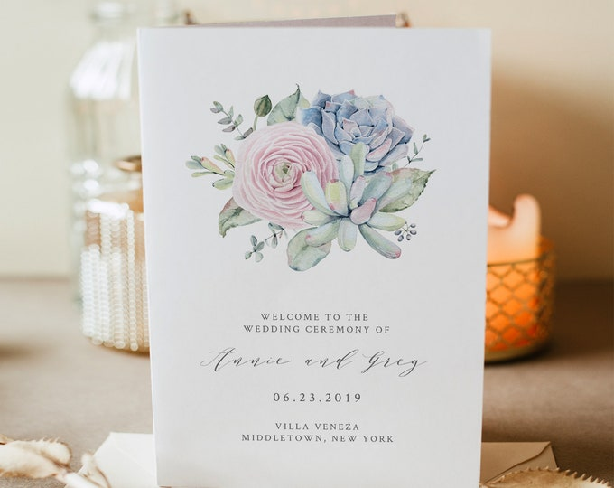 Succulent Wedding Program Template, Folded Booklet, Order of Service, INSTANT DOWNLOAD, 100% Editable, Sweet Watercolor Cactus #041-116WP