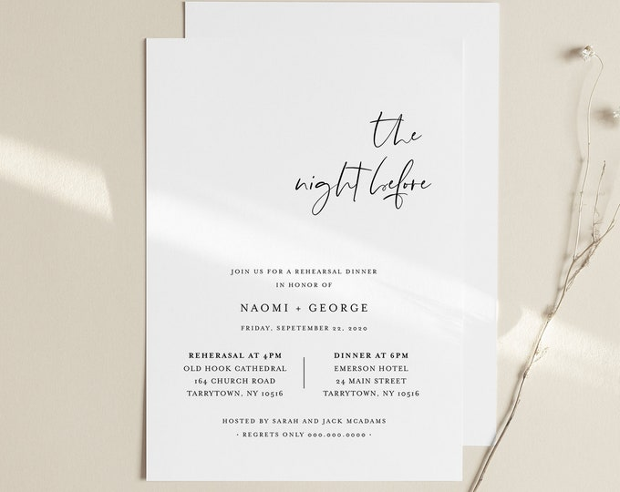 Modern Rehearsal Dinner Invitation Template, Minimalist Rehearsal Invite, Night Before, 100% Editable, Instant Download, Templett #096-151RD