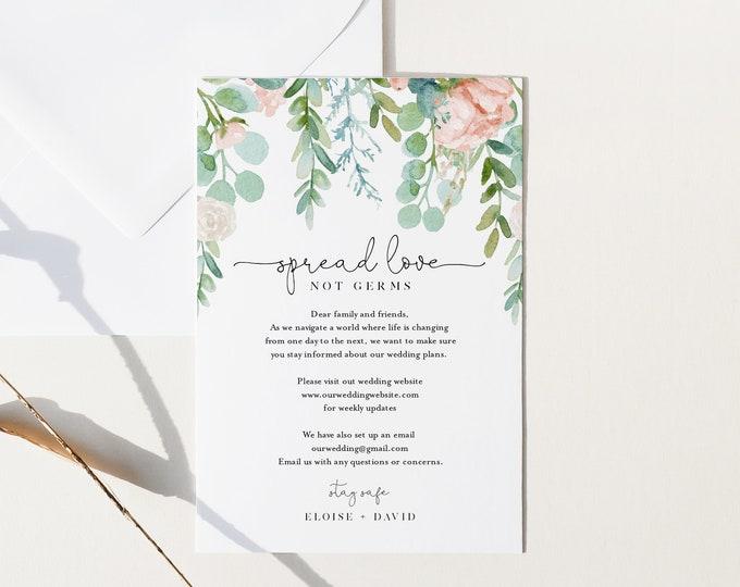 Covid Wedding Insert, Safety First Card, Lush Garden Wedding Enclosure Card, Instant Download, Templett, 4x6 #068A-110CVW
