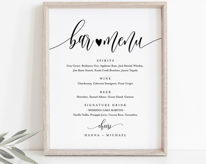 Bar Menu Sign, Editable Wedding Bar Menu Template, Alcohol Drinks Menu, Modern Calligraphy, Instant Download, Templett 8x10, 18x24 #008-19S