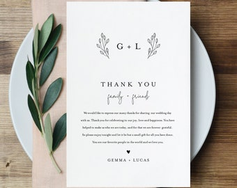 Thank You Letter, Minimalist Monogram, Napkin Note, Printable Menu Thank You, Editable Template, Instant Download, Templett 4x6 #095B-138TYN