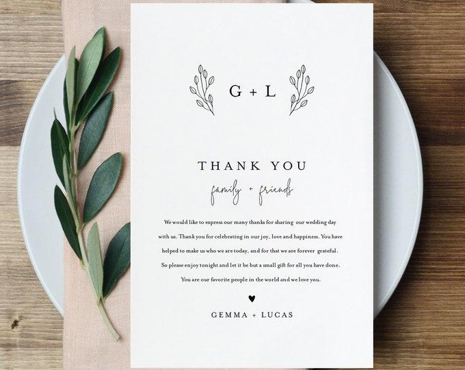 Thank You Letter, Minimalist Monogram, Napkin Note, Printable Menu Thank You, Editable Template, Instant Download, Templett 4x6 #095B-138TYN