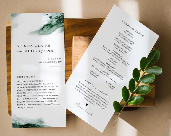 Mystic Lake Wedding Program Template, Printable Order of Service, Emerald Watercolor, Instant Download, Editable Text, Templett #0002-244WP