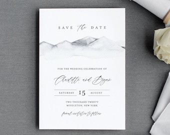 Mountain Save the Date Template, Minimalist Winter Wedding Date Printable, Editable, Instant Download, Templett, Rustic 4x6, 5x7 #004-155SD