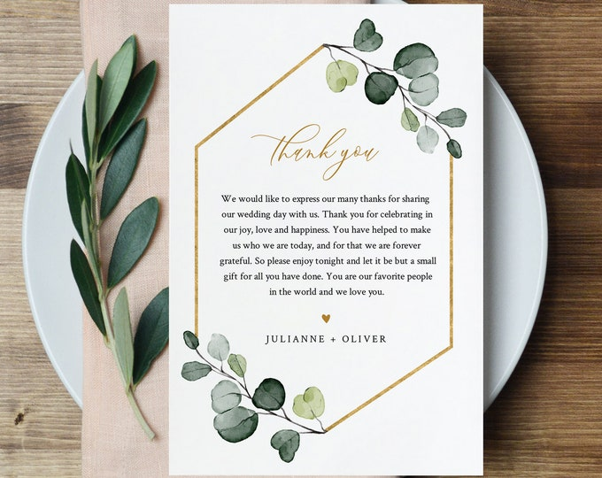 Greenery Thank You Letter Template, Wedding Reception Thank You Note, Instant Download, Printable In Lieu of Favor, Templett #007-153TYN