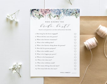Who Knows the Bride Best Bridal Shower Game, Printable Succulent Bridal Shower Game, Editable Template, Instant Download, Templett 041-278BG
