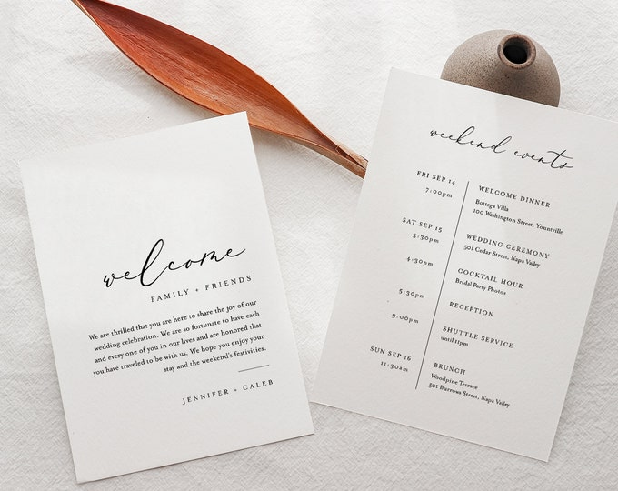 Minimalist Welcome Letter & Timeline Template, Simple Wedding Order of Events, Itinerary, INSTANT DOWNLOAD, 100% Editable Text #045-172WB