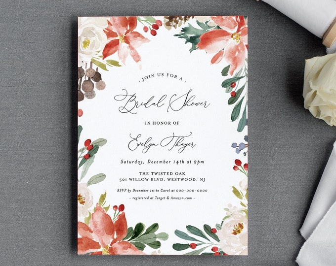 Winter Bridal Shower Invitation Template, Printable Couples Shower, Holly, Evergreen, Pine, 100% Editable Text, INSTANT DOWNLOAD #071-205BS