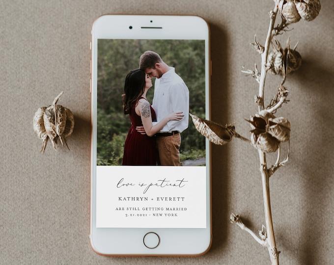 Postponed Wedding Date, Love is Patient, Change of Plans, Digital Announcement, 100% Editable, INSTANT DOWNLOAD, Templett #045-113PA
