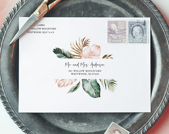 Tropical Envelope Template, Beach Greenery Wedding Address Printable, Instant Download, Editable Text, Templett, A1, A7 Sizes #087-127EN