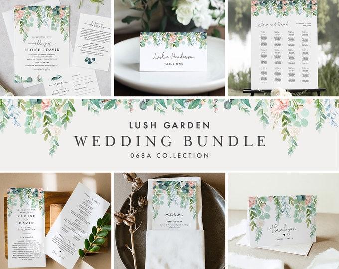 Lush Garden Wedding Bundle, Large Wedding Essential Templates, 100% Editable Text, Greenery Wedding, Instant Download, Templett 068A-BUNDLE