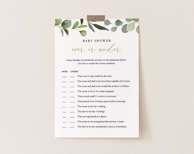 Over or Under Baby Shower Game, 100% Editable Text, Printable Baby Shower, Greenery and Gold, Instant Download, Templett #056-115BASG