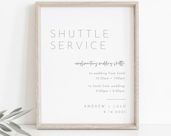 Shuttle Service Wedding Sign, Minimalist Transportation Sign, Trolly, Editable Template, Printable, Instant Download, Templett 8x10 #094-22S