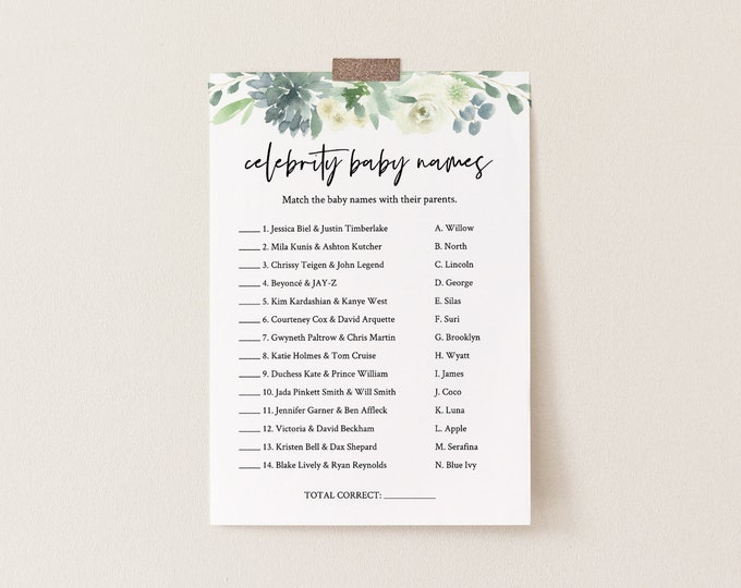 Celebrity Baby Name Game, Printable Baby Shower Game, Baby Name Game, Succulent Greenery, Editable Template, INSTANT DOWNLOAD #075-153BG