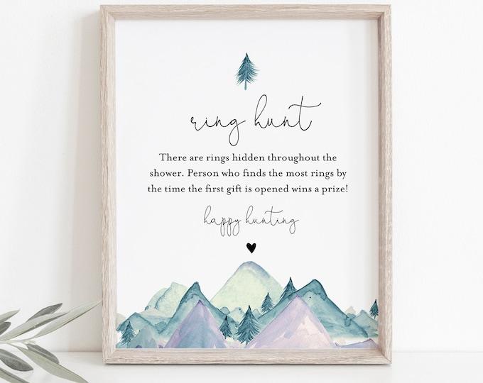 Ring Hunt Bridal Shower Game, Ring Game Template, Winter Mountain Bridal Shower Printable, Editable, Instant Download, Templett #063-271BG