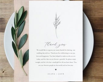 Lavender Thank You Letter Template, Editable Wedding Thank You Note, Instant Download, Printable In Lieu of Favor, Templett #0006C-150TYN