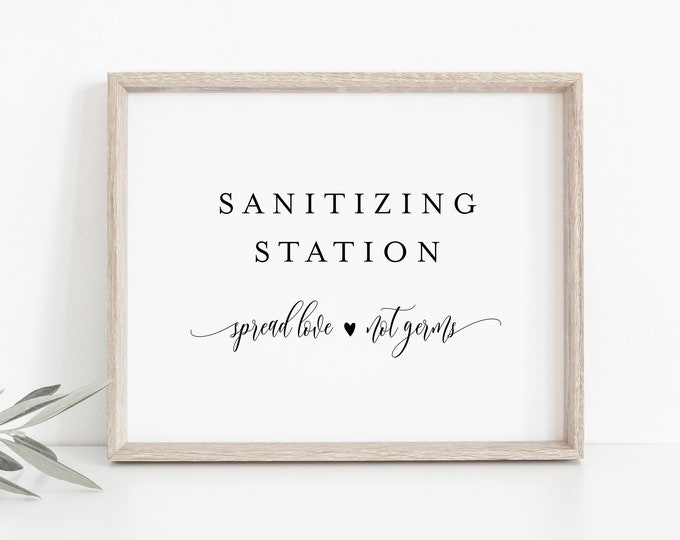 Sanitizing Station, Printable Wedding Sign, Hand Sanitizer Sign, Social Distance Bridal Shower, Birthday,Instant Download, Templett #008-23S