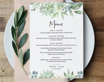 Boho Menu Template, Succulent Greenery Wedding Menu Card, Printable DIY Dinner Menu, INSTANT DOWNLOAD, Editable, 5x7 & 3.65x9 #075-142WM