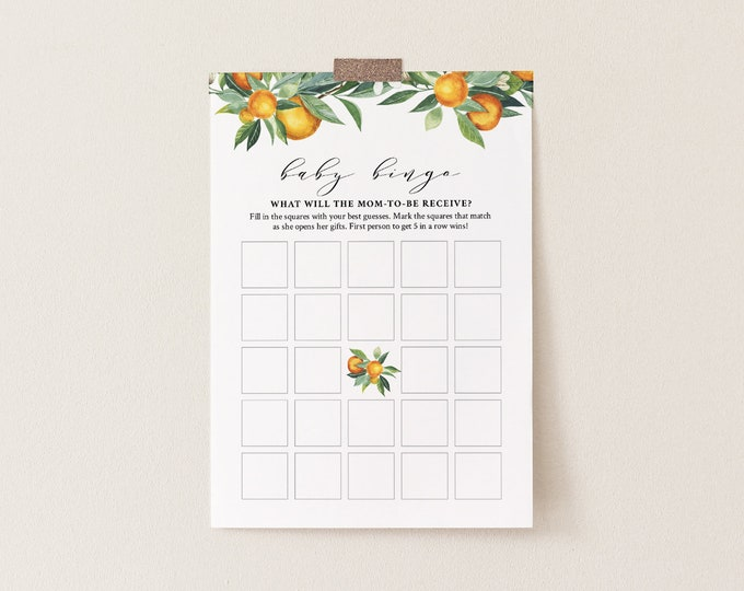 Baby Bingo Game, Instant Download, Citrus Summer Orange Baby Shower Game, Editable Template, Instant Download, Templett, DIY  #084-138BASG