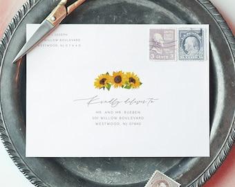 Sunflower Envelope Template, DIY Printable Rustic Wedding Address Template, Instant Download, Editable Text, Templett, A1, A7 #0010-142EN