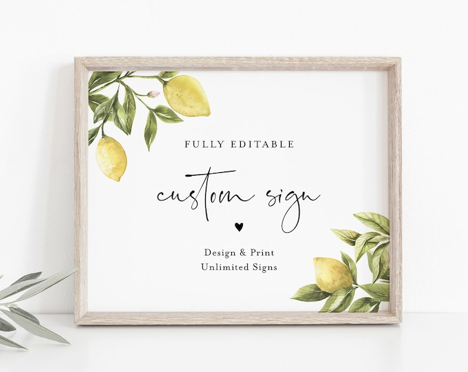 Lemon Custom Sign Template, Citrus Greenery Wedding or Bridal Shower Table Sign, Create Any Sign, INSTANT DOWNLOAD, Templett #089-152CS