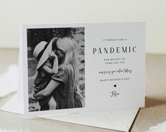 Funny Mother's Day Card, Quarantine, Pandemic, Social Distance, Personalized Photo Card, 100% Editable, Instant Download, Templett  #104MDC